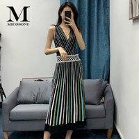 Pretty Micosoni Italian Style 2020 Summer New Western Cross V neck Knit Fashion Pleated Gorgeous Colorful Striped Slim Dress