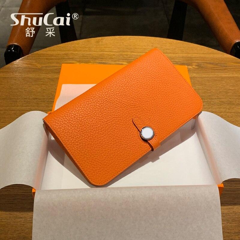 Mode en cuir véritable portefeuilles pour femmes femme téléphone portable poche longue femmes sacs à main dame passeport couverture porte-carte pochette