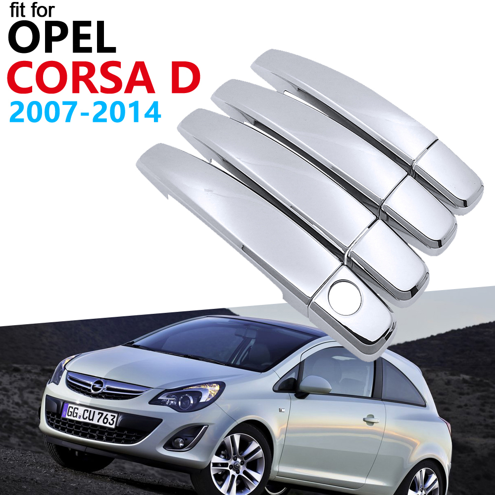 Luxurious Chrome Handle Cover Trim Set for <font><b>Opel</b></font> <font><b>Corsa</b></font> <font><b>D</b></font> 2007 <font><b>2008</b></font> 2009 2010 2011 2012 2013 2014 Vauxhall Accessories Car Sticker image