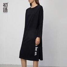 Toyouth 2020 Frühling Baumwolle Kleider Frauen Alle Spiel Brief Gedruckt Langarm Kleid Split Saum Solid Weibliche Kleider
