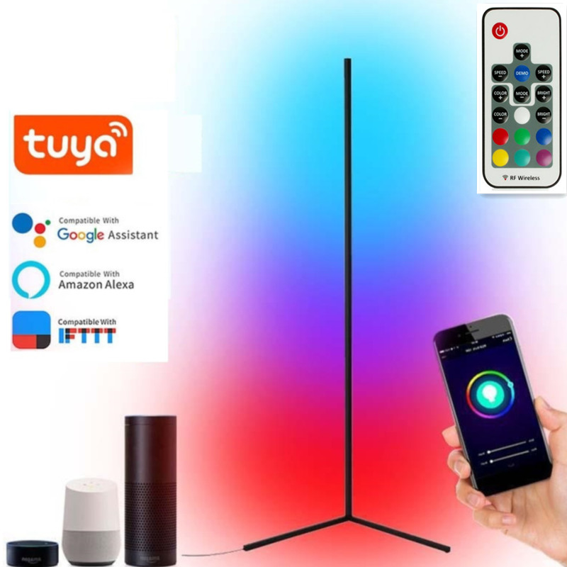 Угловая напольная лампа RGB Alexa в скандинавском стиле, цветные светодиодные лампы RGB для гостиной, декоративные приглушаемые светильники для ...
