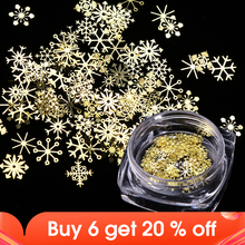 1 Box Nail Glitter Christmas Gold Snowflakes Nail Art Sequins Powder Dust Flakes 3D Charm Decoration UV Gel Polish Tips JI889
