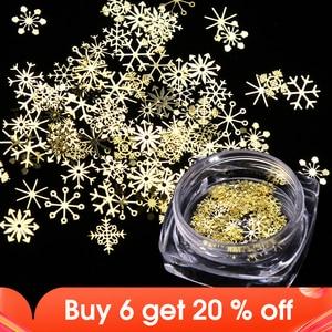 Image 1 - 1 Box Nail Glitter Christmas Gold Snowflakes Nail Art Sequins Powder Dust Flakes 3D Charm Decoration UV Gel Polish Tips JI889