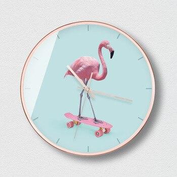 Wall Clock Modern Design Girls Pink Living Room Modern Simple Mute Quartz Clock Creative Watch Bedroom Clock Round Clock 50Z042
