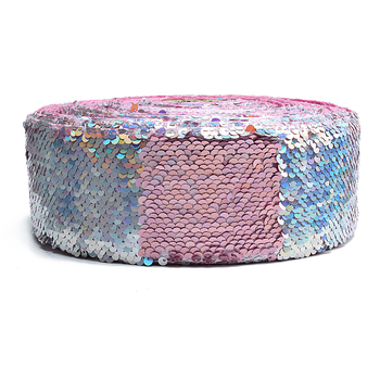 "(25 yards/lot) Hair bows listons 3"" reversible sequin ribbon"