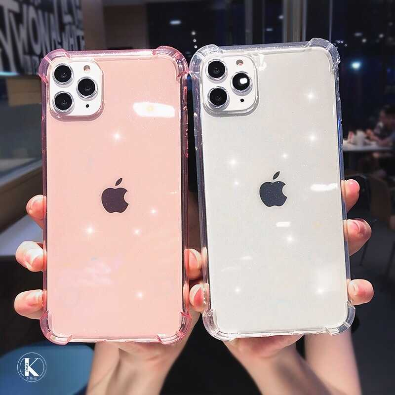 Mode Glitter Shockproof Phone Case Voor iPhone 11 Pro 7 8 6 6s Plus X XR XS Max Transparant clear Soft TPU Shining Back Cover