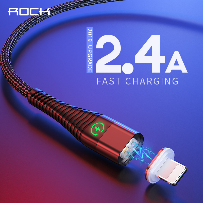 ROCK LED Fast Charging Charger Cable For iPhone iPad USB Cable For iPhone XS X 8 lighting Charger Cable Mobile Phone Data Cable-in Mobile Phone Cables from Cellphones & Telecommunications on AliExpress