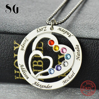 SG personalise 925 sterling silver 2 Heart necklaces for women 2019 new Custom birthstone and engraving name jewelry gifts