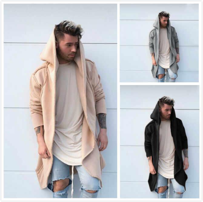 PUIMENTIUA Мода 2019 новый мужской унисекс Повседневный Кардиган с капюшоном длинный плащ пальто Косплей свободная куртка