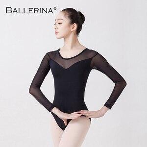 Image 4 - Balet taniec praktyka trykot dla kobiet balet adulto kostium czarna siatka z długim rękawem gimnastyka trykot baleriny 5876
