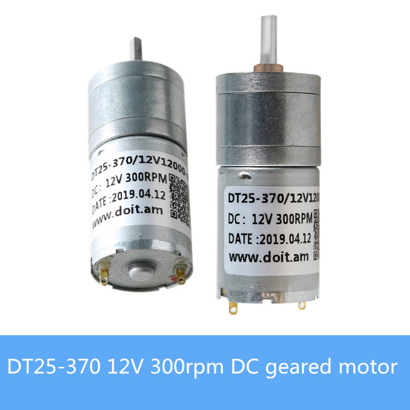 High Torque <font><b>25mm</b></font> Miniature DC Geared <font><b>Motor</b></font> DT25-370 <font><b>12V</b></font> 300rpm Metal Gear <font><b>Motor</b></font> 4mm Shaft Diameter For RC Robot Tank Chassis DIY image