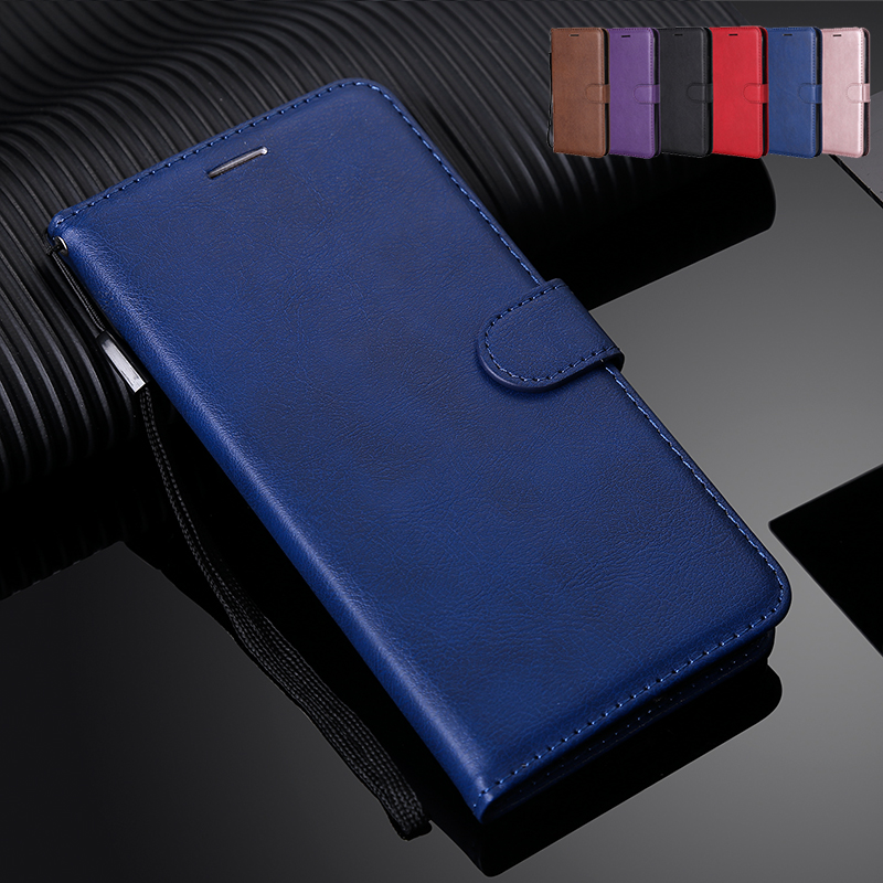Solid Color Wallet Flip <font><b>Case</b></font> For <font><b>OPPO</b></font> A9 2020 A5 2020 Realme 5 3 pro F11 A7 A5 A5S <font><b>A3S</b></font> A1K C2 R17 F9 F7 Solid Color <font><b>Phone</b></font> Cover image