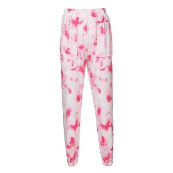Rockmore Tie Dye Pencil Pants Plus Size Womens Streeetwear High Waisted Joggers Pink Harajuku Trousers Pockets Loose SweatPants 8