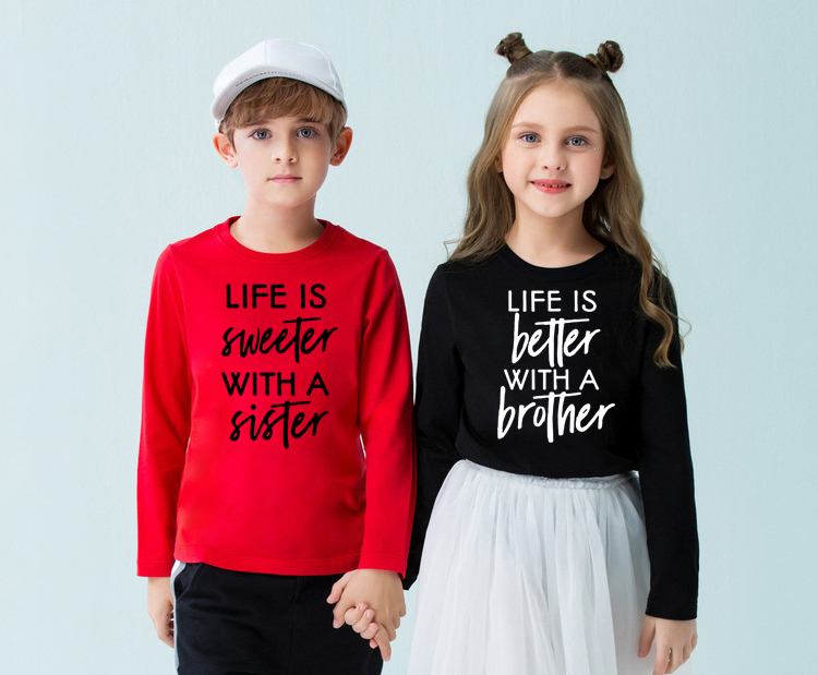 Life Is Better/sweeter with A Brother/Sister Funny Kids Brothers Sisters Cousins <font><b>Twins</b></font> Long Sleeve T <font><b>Shirt</b></font> Fashion Toddler Tees image