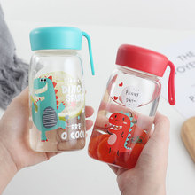 Transparent dinosaur glass female student fresh and cute portable water cup high borosilicate high temperature resistant cup 360 transparent pc plastic cup with tea compartment simple and fresh male and female students portable water cup high temperature
