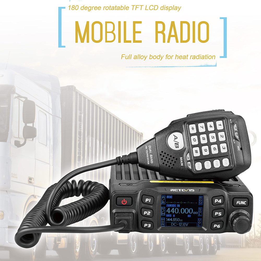 RETEVIS RT95 Car Mobile Radio Walkie Talkie TFT LCD display 25W VHF UHF Dual Band Two Way Radio Amador Ham Radio Transceiver+MIC