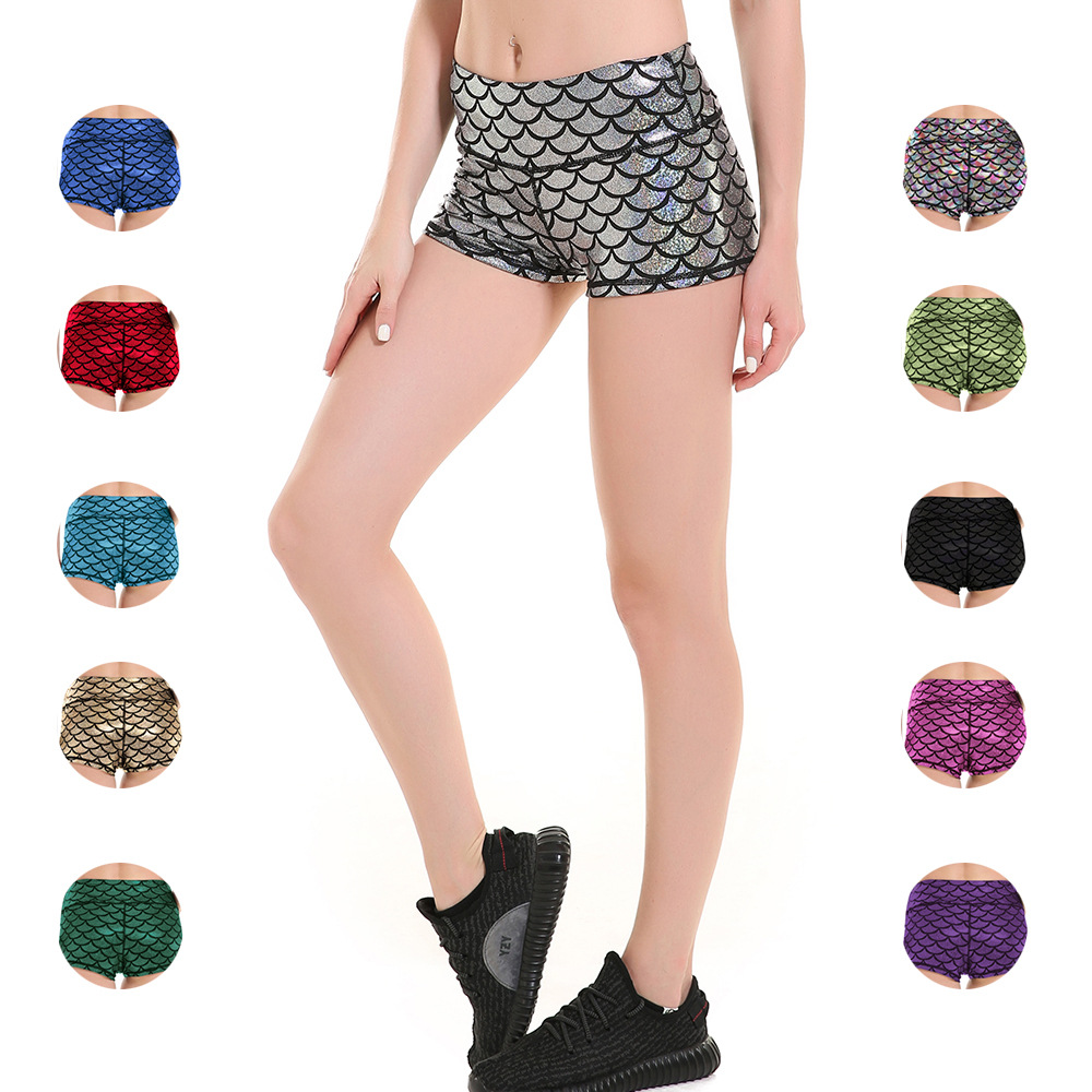 Fish Scale Multi-color Body-building Sports Lady Sports Shorts