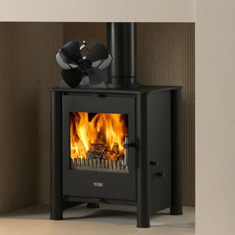 Heat Powered Stove Fan Wood Log Burner Fireplace 5 Blades Wind Blower Aluminum