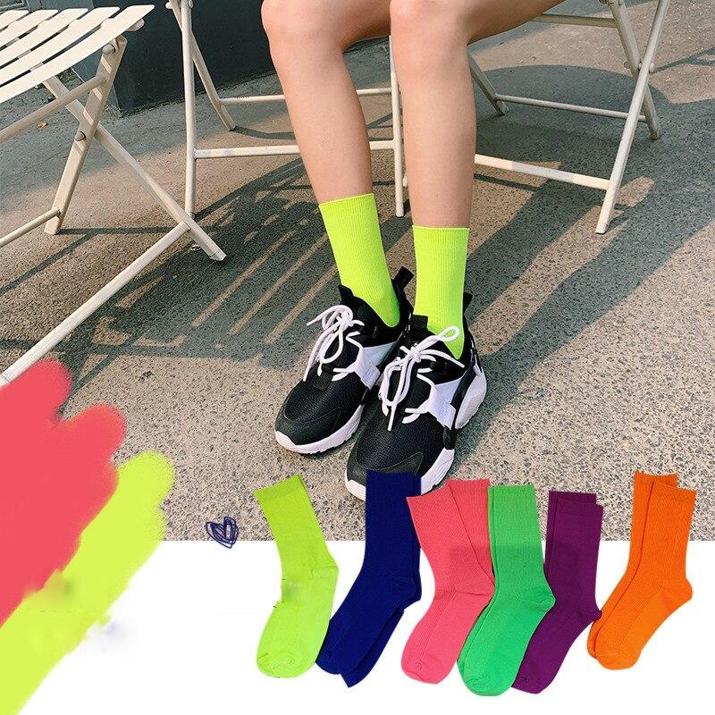 Stylish Pure Color Classic Stripes Casual Neon Socks Women  Fluorescence Green Short Socks Winter Cotton Socks Unisex