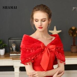 Image 5 - SHAMAI Nữ Lông Thú Giả Thu Đông Ấm Cô Dâu Tiệc Ren Bọc Lấy Trộm Bolero Khăn Tiệc Cưới Đô