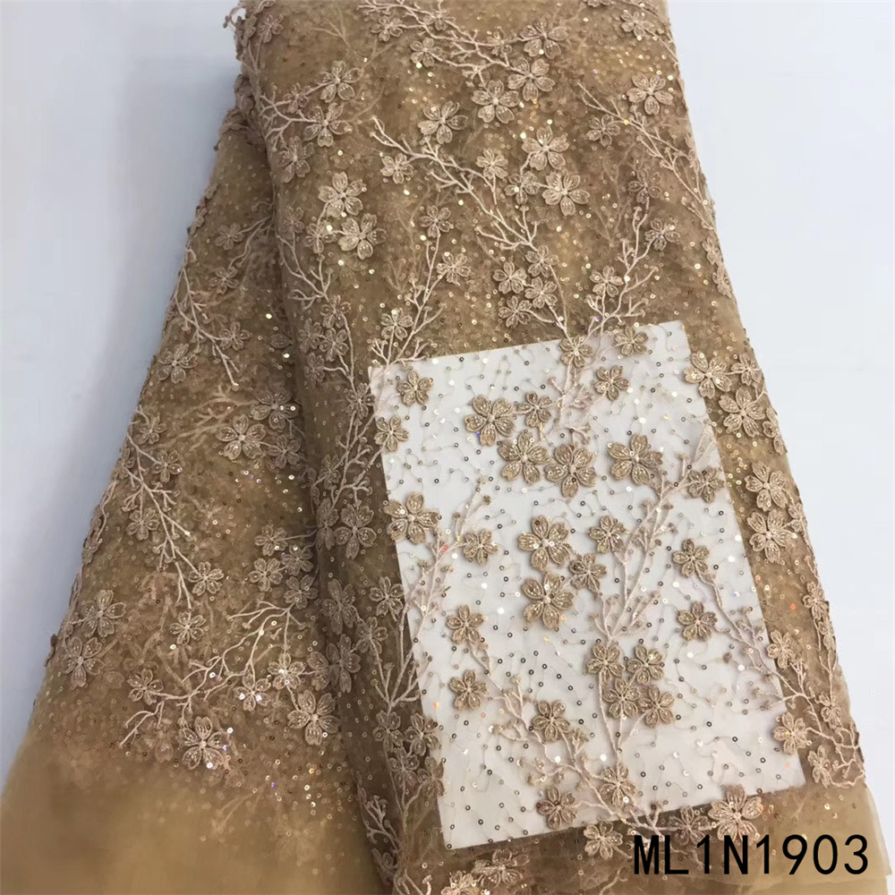 BEAUTIFICAL embroidery french lace with sequins 2020 high quality tulle net lace fabrics 5 yards/lot lace nigerian ML1N1903