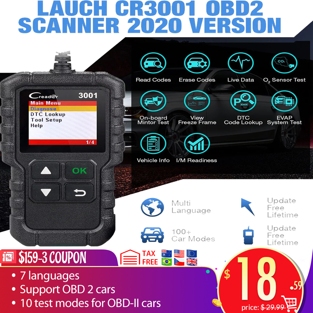 LAUNCH X431 CR3001 Full OBD II EOBD Function Code Reader CR3001 Auto Scanner Diagnostic PK ELM327 CR319