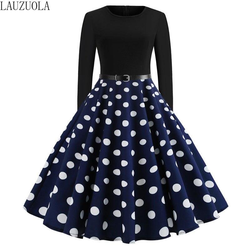Vestido blanco de lunares para mujer de manga larga Vintage 50s 60s Rockabilly gótico Pin Up vestido de otoño hasta la rodilla con cinturón|Vestidos|   - AliExpress