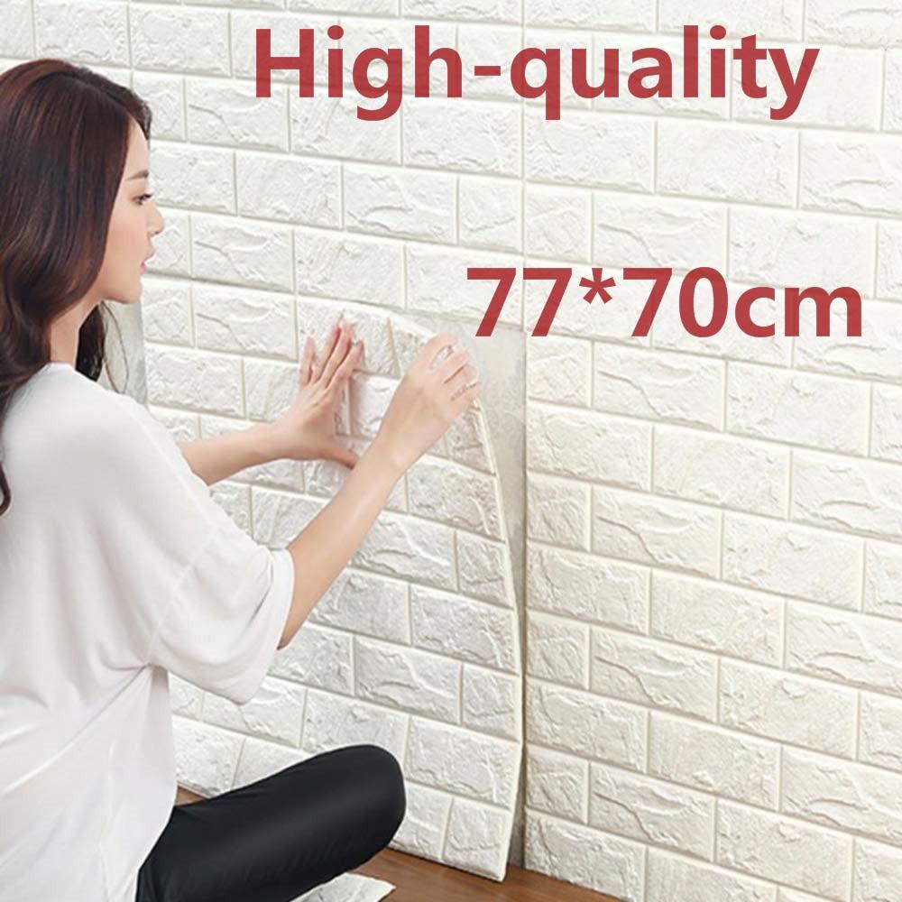 70*77 3D Brick Wall Stickers Self Adhesive DIY PE Foam Wallpaper Living Room TV Background Decor Panels Kids Room Protecti