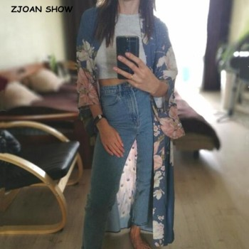 2019 Bohemian V neck Peacock Flower Print Long Kimono Shirt Ethnic New Lacing up Sashes Long Cardigan Loose Blouse Tops femme