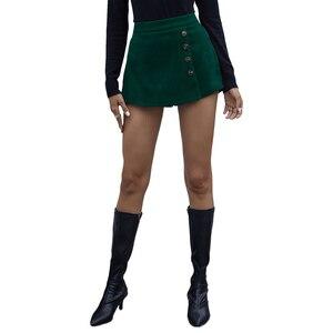 Женская короткая юбка с завышенной талией, осенне-зимняя женская модная базовая юбка-шорты на молнии с пуговицами вечерние ринки и клуба