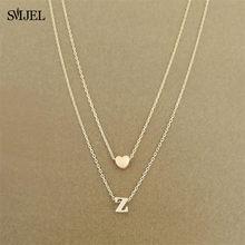 SMJEL – collier Double couche avec initiales en forme de petit cœur pour femme, 26 lettres, Bijoux personnalisés, cadeau pour petite amie