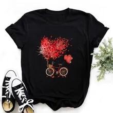 Black T-Shirt Graphic-Tops Bicycle Vogue Harajuku Girl Korean-Style Women Kawaii