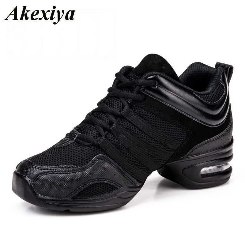 Soft Outsole Woman's Breath Jazz Hip Hop Shoes Sports Feature Dance Sneakers White Black Girls Modern Dance Shoes Practice Shoes