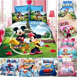 Disney Cartoon Bedding Set Mickey Minnie Mouse Sophia Duvet Cover Pillowcase Children Boy Girls Birthday Gift 1.0m 1.2m Bed