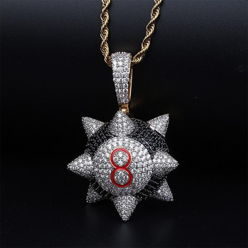 Nouveau collier pendentif glacé hip-hop bijoux numéro 8 collier boule or cubique zircone hommes femmes cadeau chaîne en acier inoxydable