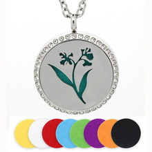 BOFEE Aromatherapy Diffuser Necklace Pendant Silver Flower Stainless Steel Essential Oil Locket Crystal Jewelry