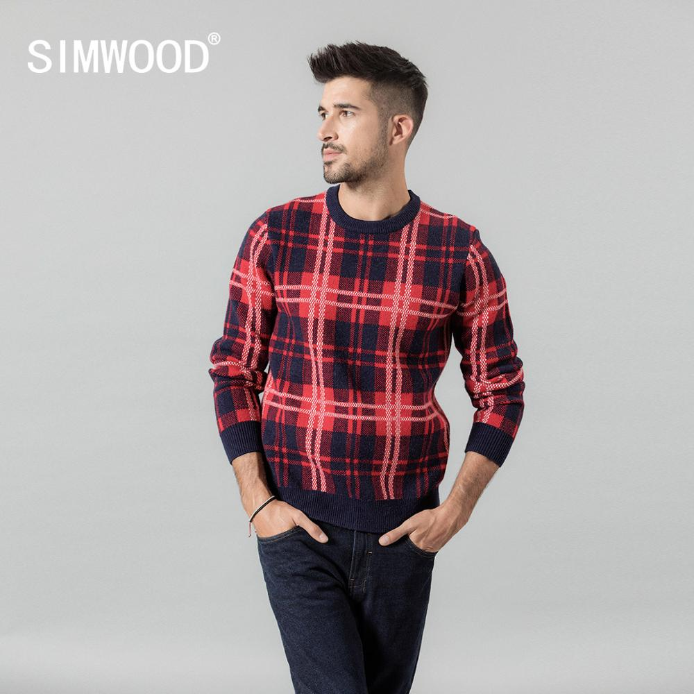 SIMWOOD 2019 Autumn Winter New Sweater Men Crewneck Plaid Contrast Color Knitwear Warm Plus Size  Pullovers  SI980569