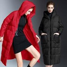 Hooded Down Jacket Winter Vrouwen Verdikte Merk Lange Warme Bovenkleding Mode Rode Jas Europese Loszittende Effen Down jas