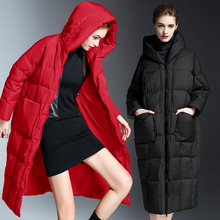 Hooded Down Jacket Winter Womens Thickened Brand Long Warm Outerwear Fashion Red Coat European Loose fitting Solid Down Jacket