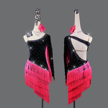 Latin dance competition dress performance black spandex slanted shoulder back red tassel