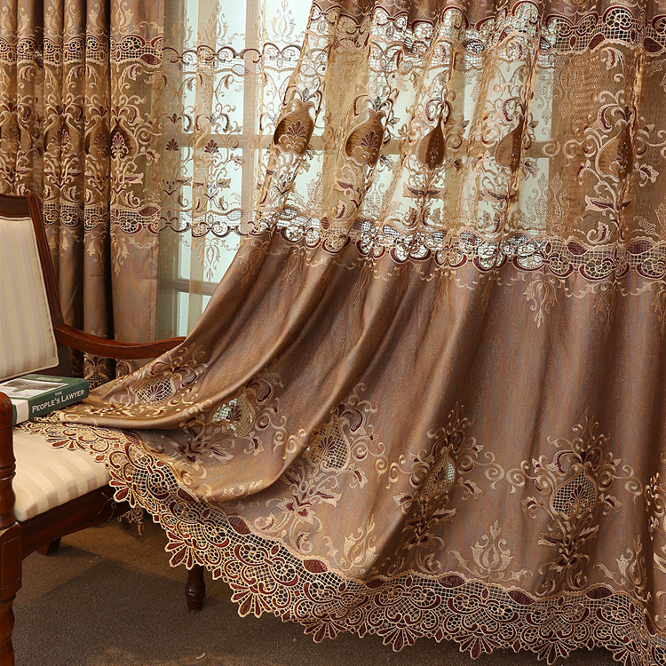 2021 New Curtains for Living Room Fabric  Bedroom Luxury Custom European Finished Gold Luxury Villa Water Soluble Embroidery
