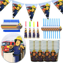 Fireman Sam Theme Birthday Party Tableware Banner Paper Cup Plate Fire Truck Balloon Party Supplise Boy Baby Shower Decor(China)