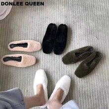 New Fashion Real Rabbit Fur Slides Slippers Autumn Winter Plush Shoes Women Slip On Casual Flip Flops Outdoor Female Furry Slide