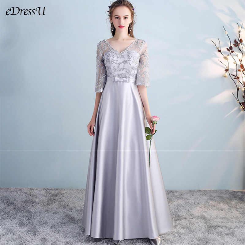 2020 A Line Damas De Honor Vestido De Noche Vestido De Fiesta Elegante Plata Gris Vestido De Graduación Formal Ts 1804
