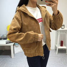 Autumn Winter New 2019 Women Jacket Long Sleeve Turn-down Collar Outerwear Brown Corduroy Coat
