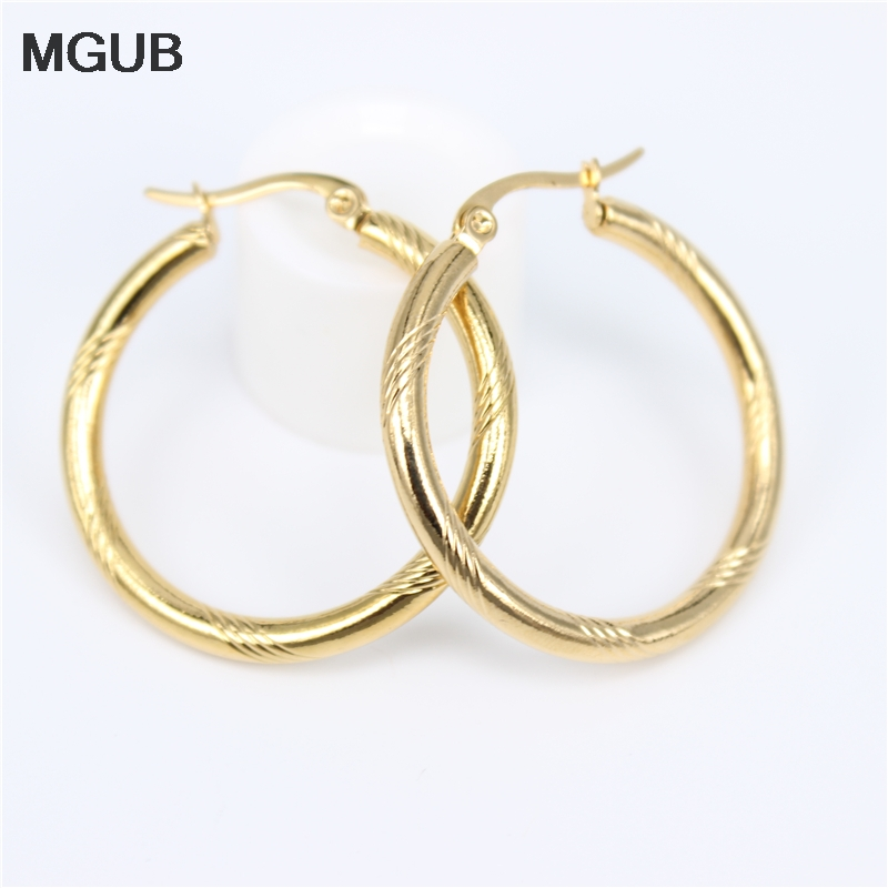 Diameter 20-50MM Circle Small Hoop Earrings With Gold Color Simple Earring For Women Stainless Steel Jewelryy LH819