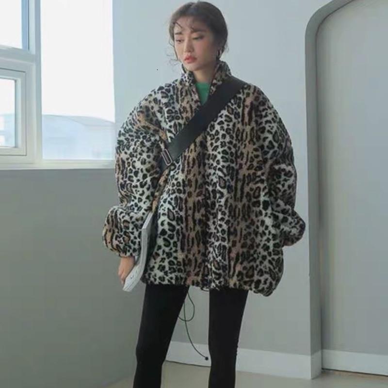 TVVOVVIN 2019 Ins hiver imprimé léopard support plomb Parkas fermeture éclair en vrac épaississement garder au chaud coton manteau ample femme marée B736