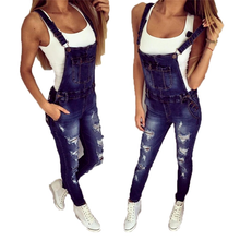 Jean Overalls Ripped Sports Fashion Summer Women Lugentolo with Small-Feet Shoulder-Straps