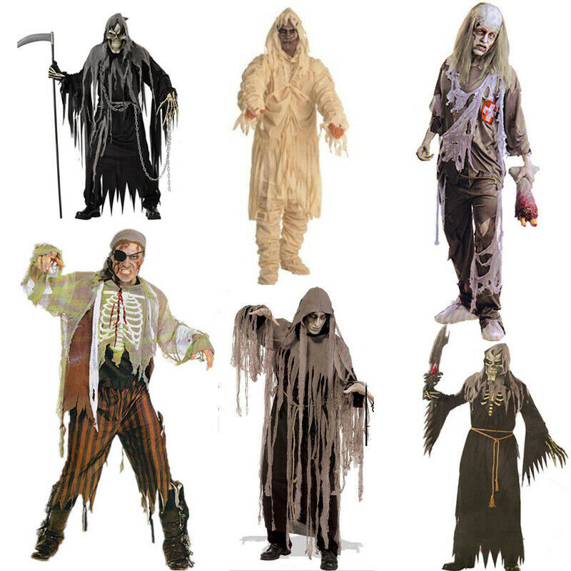 Boys Girls Mens Adult Scream Robe and Mask Halloween Fancy Dress Costume Outfit