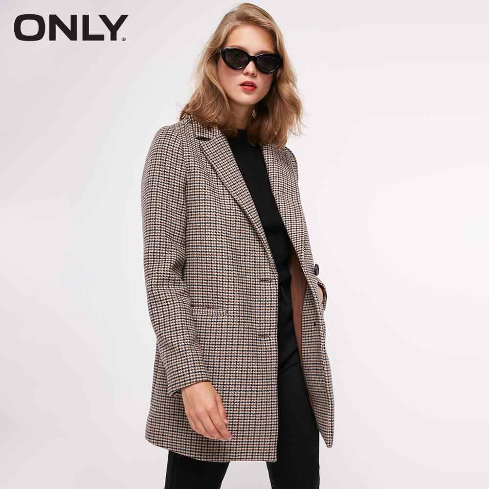 ONLY 2019 Autumn Winter Women's Houndstooth Woolen Overcoat | 11836T503